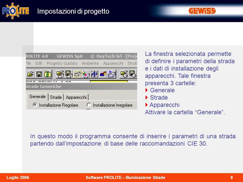 8Software PROLITE – Illuminazione StradeLuglio 2006 Impostazioni di progetto La finestra selezionata permette di definire i parametri della strada e i
