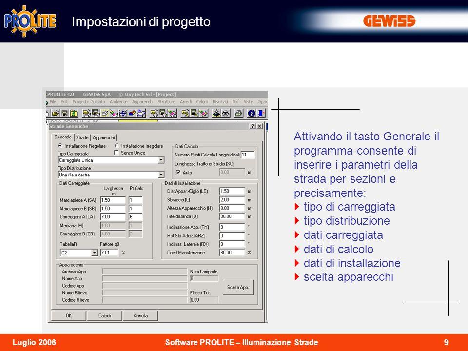 9Software PROLITE – Illuminazione StradeLuglio 2006 Impostazioni di progetto Attivando il tasto Generale il programma consente di inserire i parametri