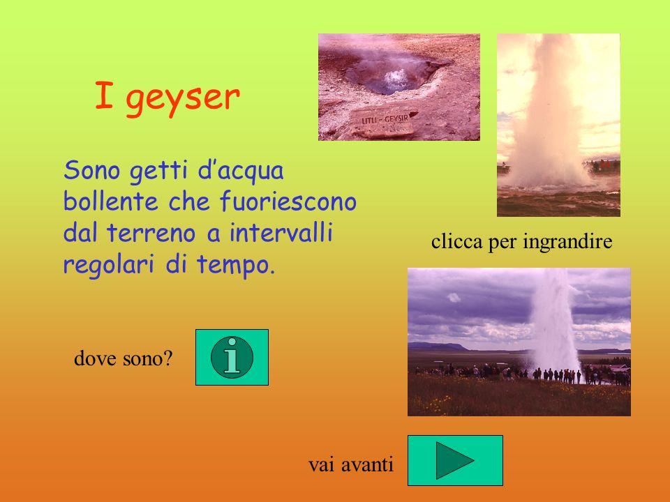 I geyser Sono getti dacqua bollente che fuoriescono dal terreno a intervalli regolari di tempo. dove sono? clicca per ingrandire vai avanti