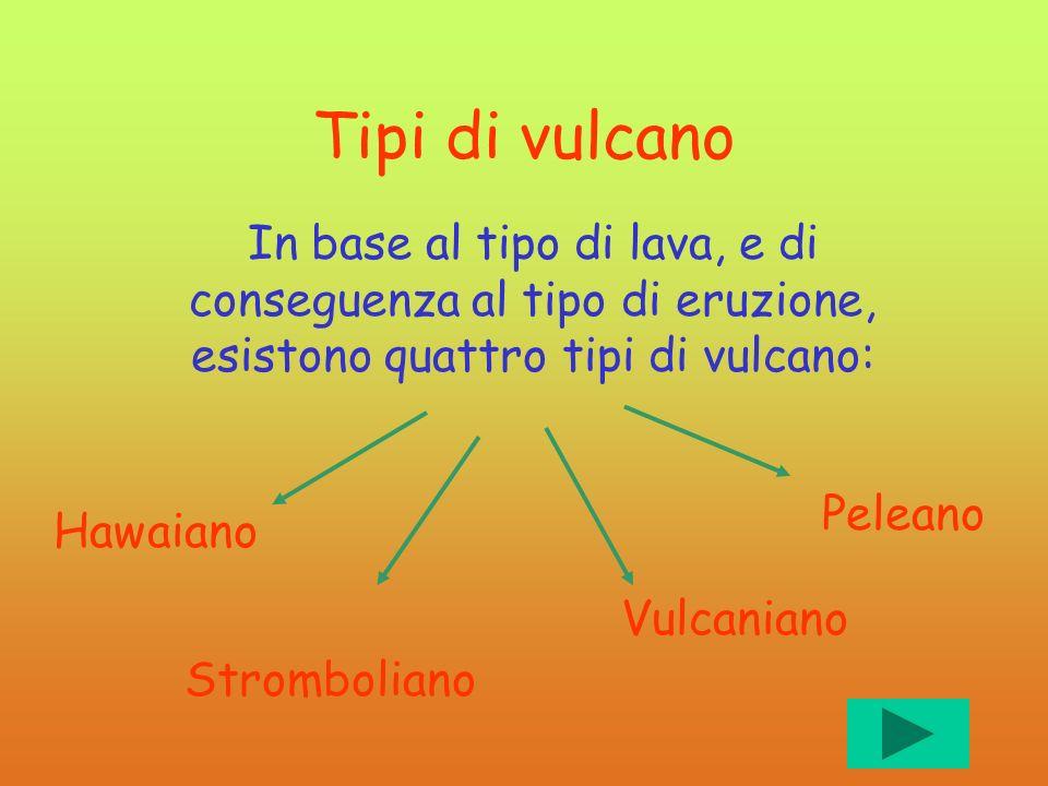 Tipi di vulcano In base al tipo di lava, e di conseguenza al tipo di eruzione, esistono quattro tipi di vulcano: Hawaiano Stromboliano Vulcaniano Pele