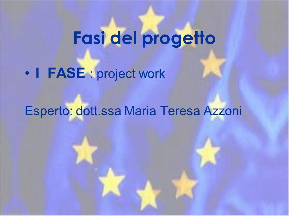Fasi del progetto I FASE : project work Esperto: dott.ssa Maria Teresa Azzoni