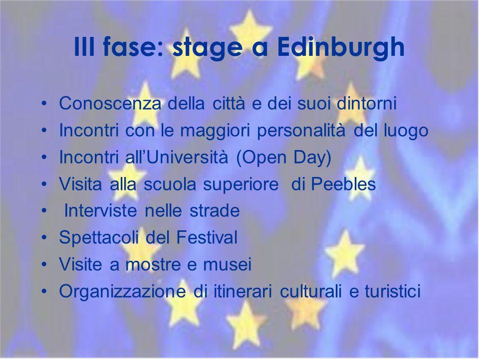 III fase: stage a Edinburgh Conoscenza della città e dei suoi dintorni Incontri con le maggiori personalità del luogo Incontri allUniversità (Open Day) Visita alla scuola superiore di Peebles Interviste nelle strade Spettacoli del Festival Visite a mostre e musei Organizzazione di itinerari culturali e turistici