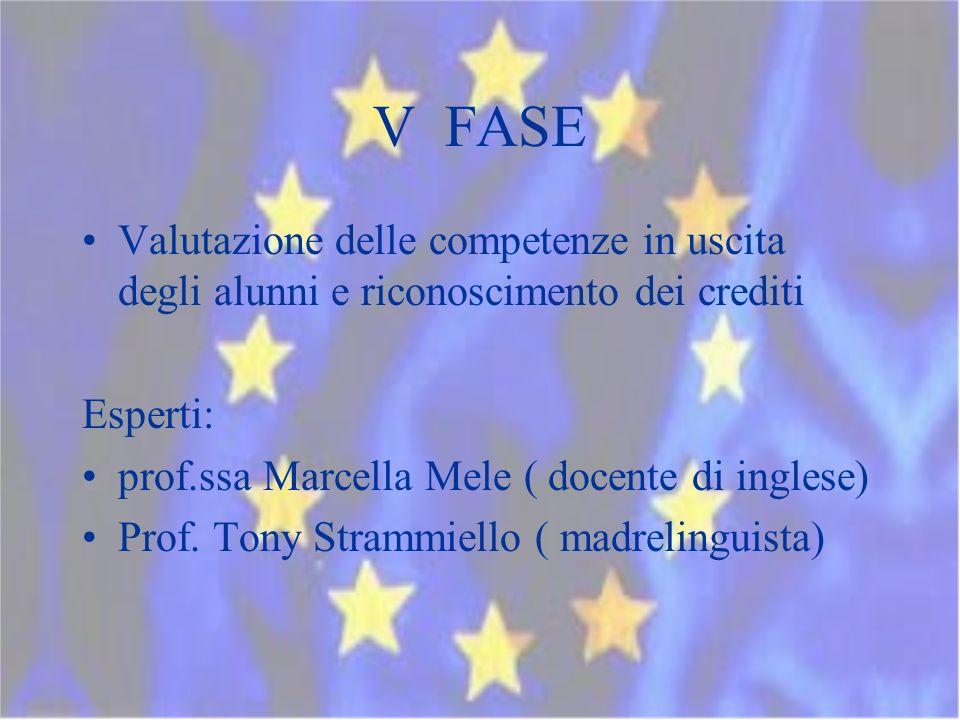 V FASE Valutazione delle competenze in uscita degli alunni e riconoscimento dei crediti Esperti: prof.ssa Marcella Mele ( docente di inglese) Prof.