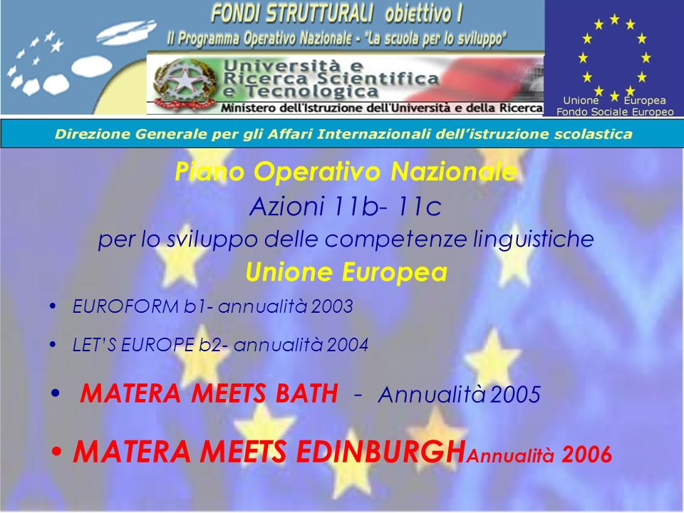 EUROFORM b1- annualità 2003 LETS EUROPE b2- annualità 2004 MATERA MEETS BATH - Annualità 2005 MATERA MEETS EDINBURGH Annualità 2006 Piano Operativo Na