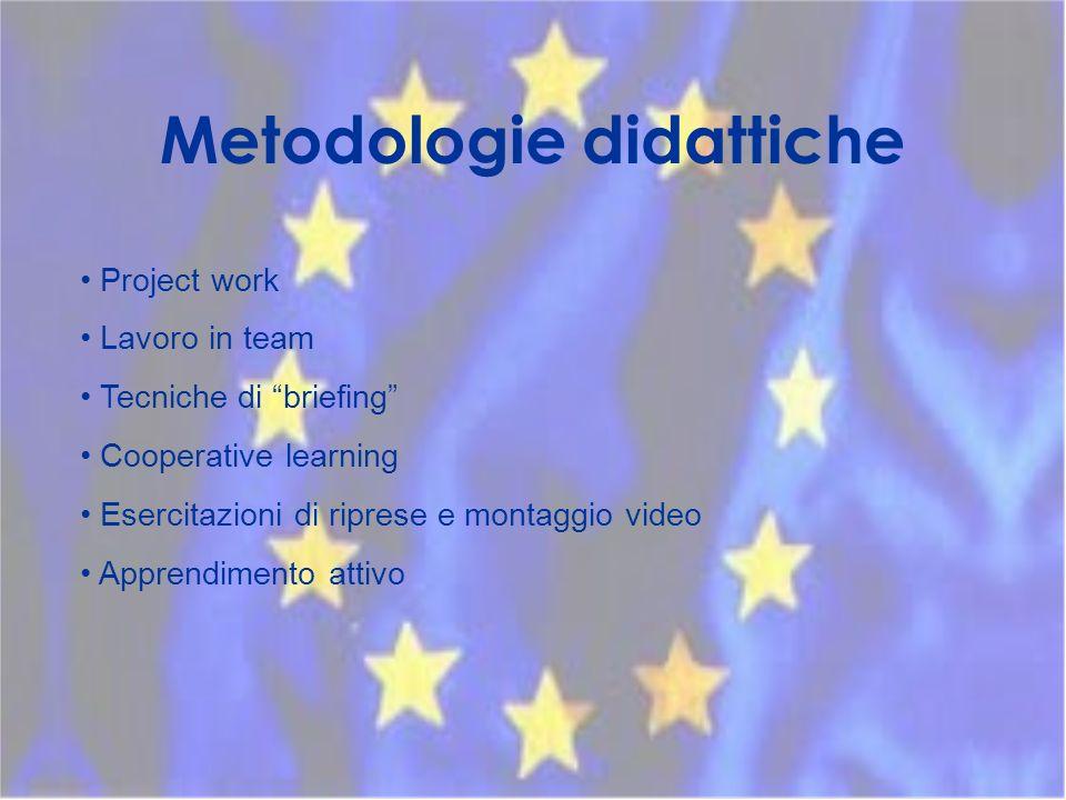 Metodologie didattiche Project work Lavoro in team Tecniche di briefing Cooperative learning Esercitazioni di riprese e montaggio video Apprendimento attivo