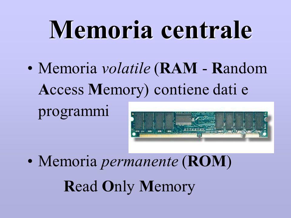 Memorie di massa Accesso diretto Dischi rigidi (HD - Hard Disk) Dischi flessibili (FD - Floppy Disk) Accesso sequenziale Nastri (basso costo, adatti p