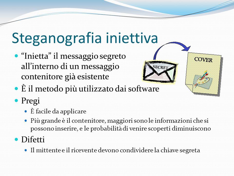 Steganografia iniettiva Inietta il messaggio segreto allinterno di un messaggio contenitore già esistente È il metodo più utilizzato dai software Preg
