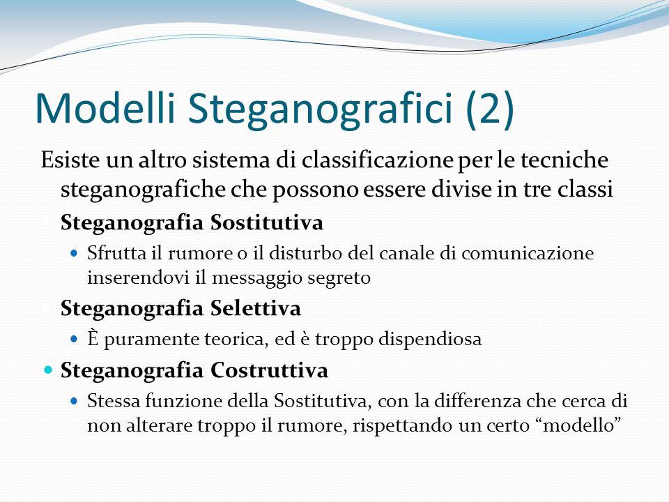Modelli Steganografici (2) Esiste un altro sistema di classificazione per le tecniche steganografiche che possono essere divise in tre classi Steganog