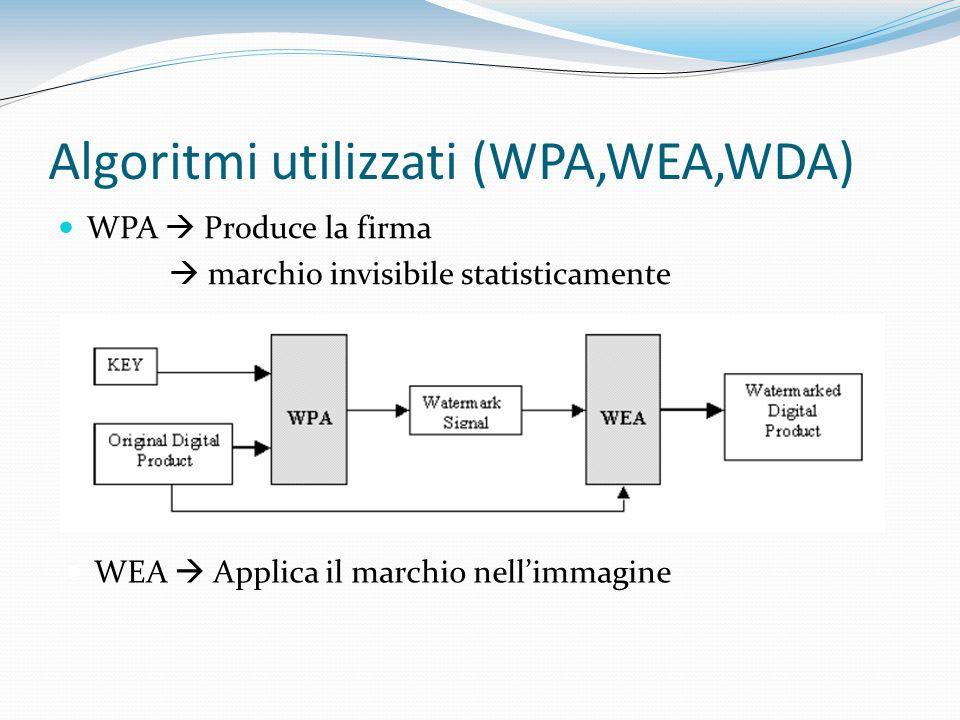 Algoritmi utilizzati (WPA,WEA,WDA) WPA Produce la firma marchio invisibile statisticamente WEA Applica il marchio nellimmagine