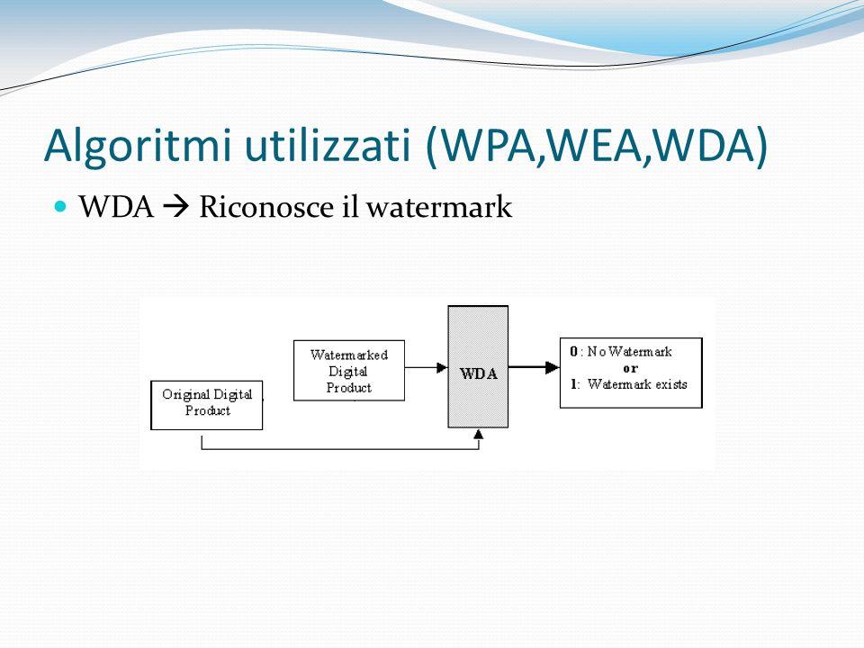 Algoritmi utilizzati (WPA,WEA,WDA) WDA Riconosce il watermark