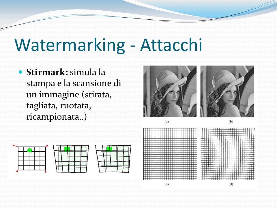 Watermarking - Attacchi Stirmark: simula la stampa e la scansione di un immagine (stirata, tagliata, ruotata, ricampionata..)