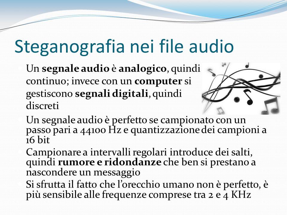Steganografia nei file audio Un segnale audio è analogico, quindi continuo; invece con un computer si gestiscono segnali digitali, quindi discreti Un