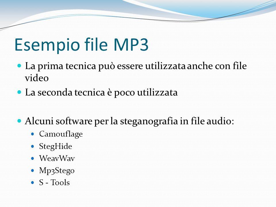 Esempio file MP3 La prima tecnica può essere utilizzata anche con file video La seconda tecnica è poco utilizzata Alcuni software per la steganografia
