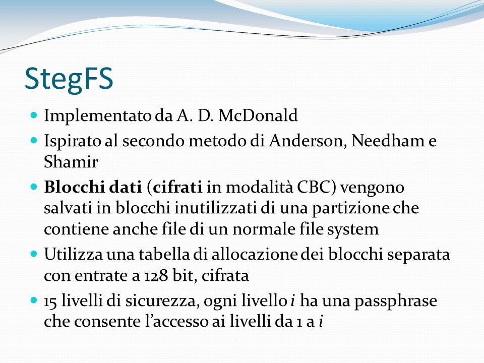 StegFS Implementato da A. D. McDonald Ispirato al secondo metodo di Anderson, Needham e Shamir Blocchi dati (cifrati in modalità CBC) vengono salvati