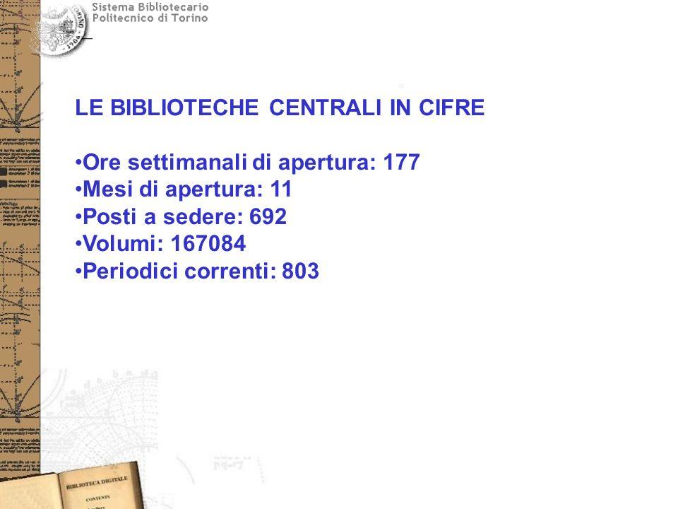 LE BIBLIOTECHE CENTRALI IN CIFRE Ore settimanali di apertura: 177 Mesi di apertura: 11 Posti a sedere: 692 Volumi: 167084 Periodici correnti: 803