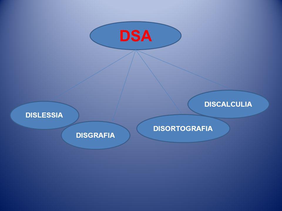 DSA DISLESSIA DISGRAFIA DISORTOGRAFIA DISCALCULIA