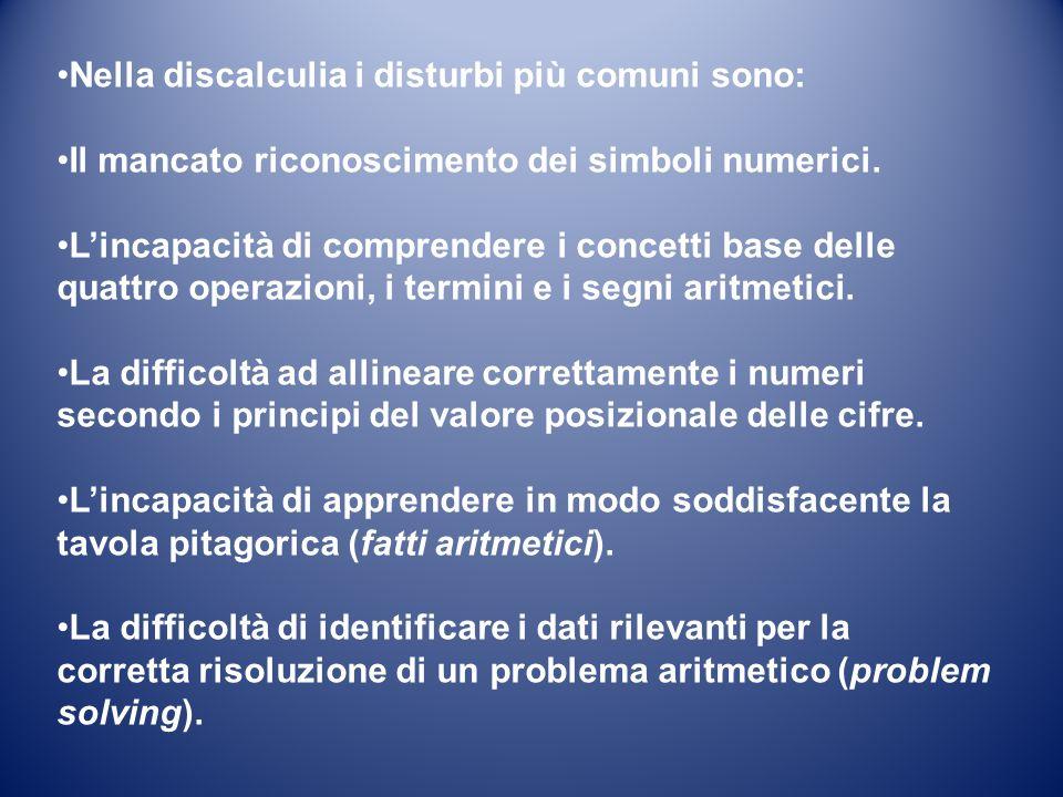 Nella discalculia i disturbi più comuni sono: Il mancato riconoscimento dei simboli numerici. Lincapacità di comprendere i concetti base delle quattro