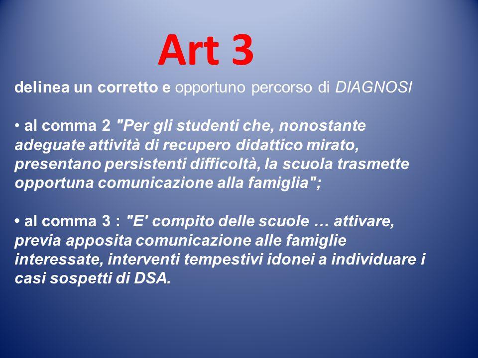 Art 3 delinea un corretto e opportuno percorso di DIAGNOSI al comma 2