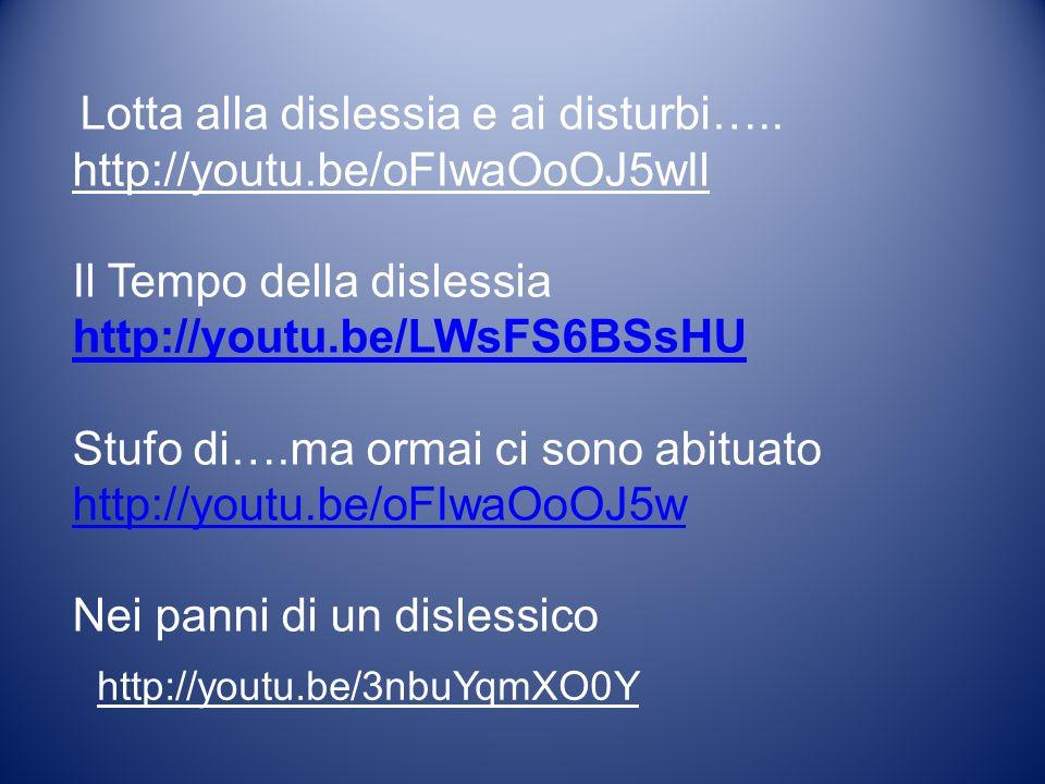 Lotta alla dislessia e ai disturbi….. http://youtu.be/oFIwaOoOJ5wIl Il Tempo della dislessia http://youtu.be/LWsFS6BSsHU http://youtu.be/LWsFS6BSsHU S