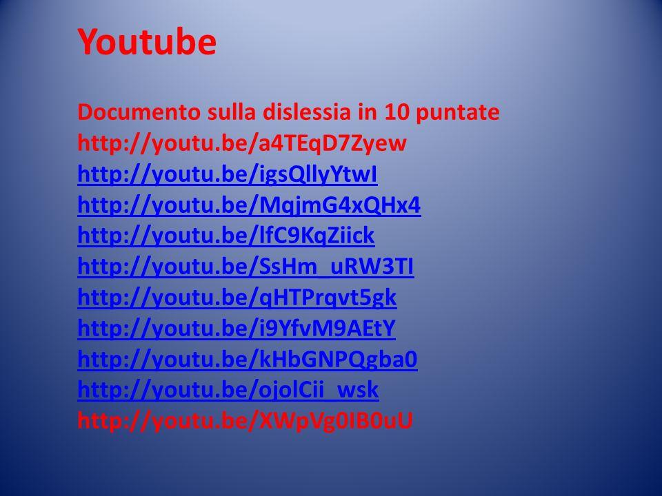 Youtube Documento sulla dislessia in 10 puntate http://youtu.be/a4TEqD7Zyew http://youtu.be/igsQllyYtwI http://youtu.be/MqjmG4xQHx4 http://youtu.be/lf