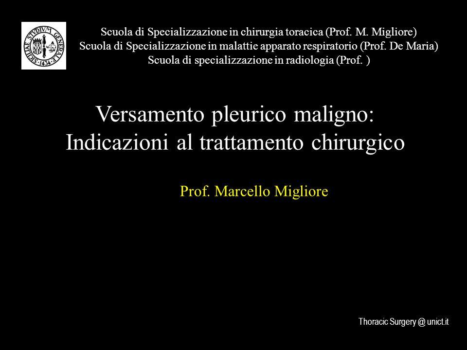 Versamento pleurico maligno: Indicazioni al trattamento chirurgico Scuola di Specializzazione in chirurgia toracica (Prof.