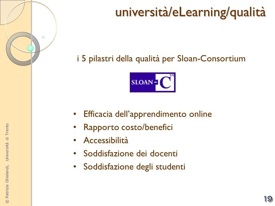 © Patrizia Ghislandi, Università di Trento 19 i 5 pilastri della qualità per Sloan-Consortium Efficacia dellapprendimento online Rapporto costo/benefi