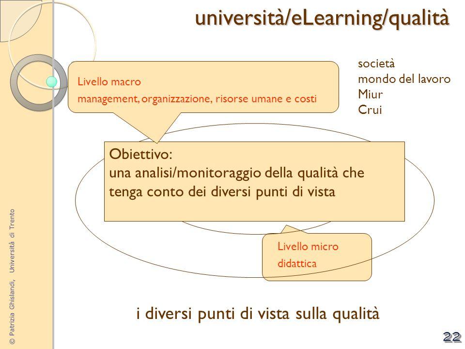 © Patrizia Ghislandi, Università di Trento 22 i diversi punti di vista sulla qualitàuniversità/eLearning/qualità Livello micro didattica governance de
