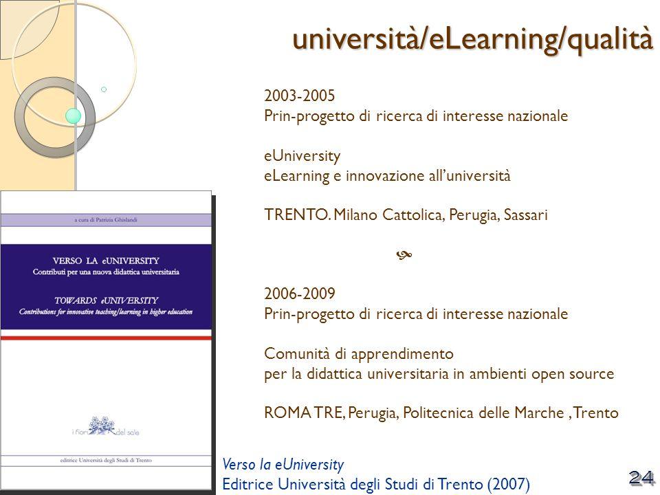 © Patrizia Ghislandi, Università di Trento 24 2003-2005 Prin-progetto di ricerca di interesse nazionale eUniversity eLearning e innovazione allunivers