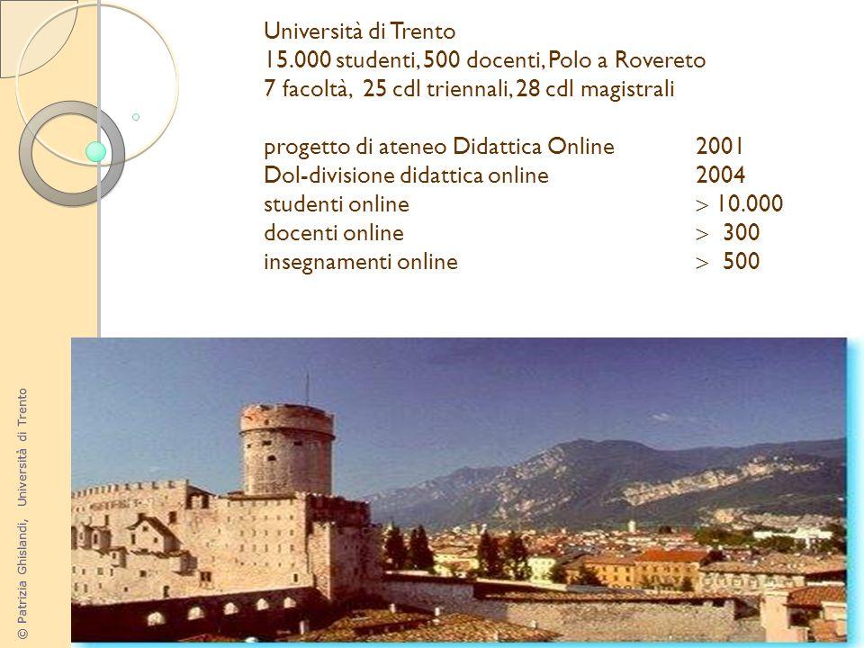 © Patrizia Ghislandi, Università di Trento 25 Università di Trento 15.000 studenti, 500 docenti, Polo a Rovereto 7 facoltà, 25 cdl triennali, 28 cdl m