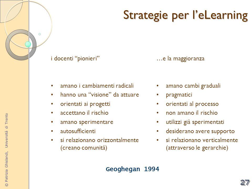© Patrizia Ghislandi, Università di Trento 27 i docenti pionieri amano i cambiamenti radicali hanno una visione da attuare orientati ai progetti accet