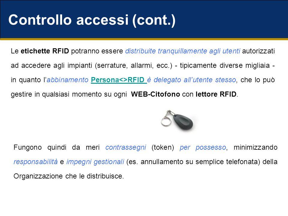 Controllo accessi (cont.) Le etichette RFID potranno essere distribuite tranquillamente agli utenti autorizzati ad accedere agli impianti (serrature, allarmi, ecc.) - tipicamente diverse migliaia - in quanto labbinamento Persona<>RFID è delegato allutente stesso, che lo può gestire in qualsiasi momento su ogni WEB-Citofono con lettore RFID.Persona<>RFID Fungono quindi da meri contrassegni (token) per possesso, minimizzando responsabilità e impegni gestionali (es.