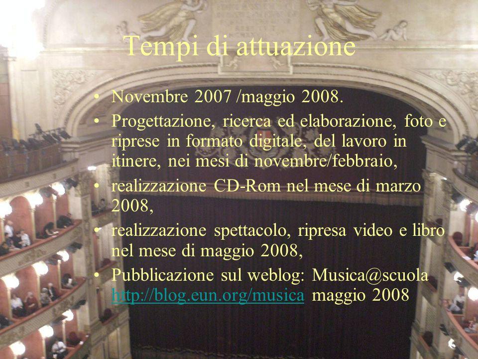 Tempi di attuazione Novembre 2007 /maggio 2008. Progettazione, ricerca ed elaborazione, foto e riprese in formato digitale, del lavoro in itinere, nei