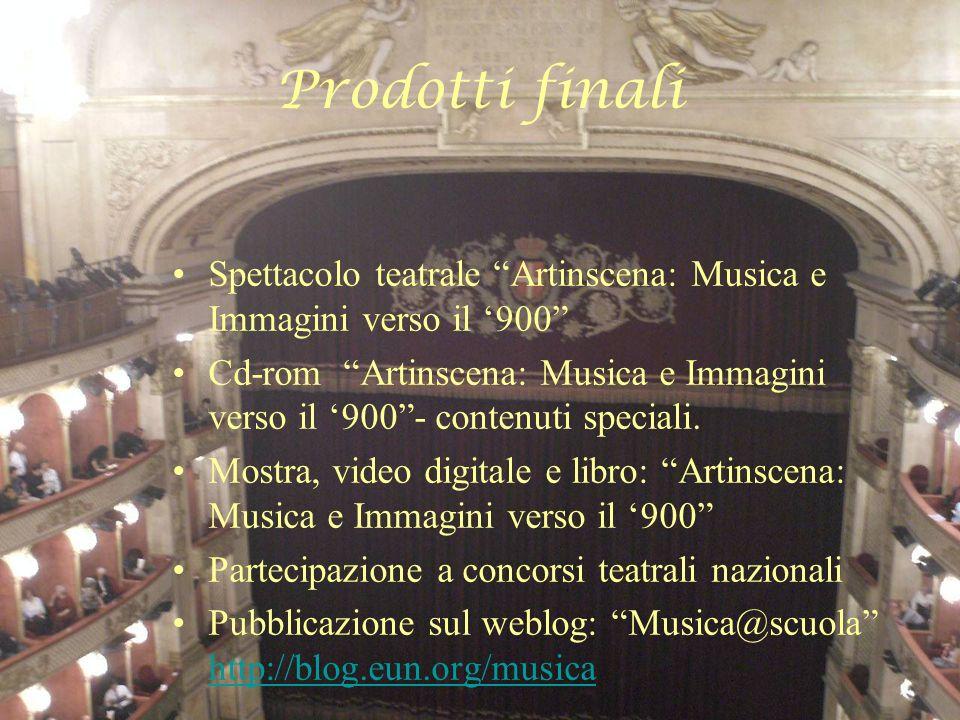 Prodotti finali Spettacolo teatrale Artinscena: Musica e Immagini verso il 900 Cd-rom Artinscena: Musica e Immagini verso il 900- contenuti speciali.