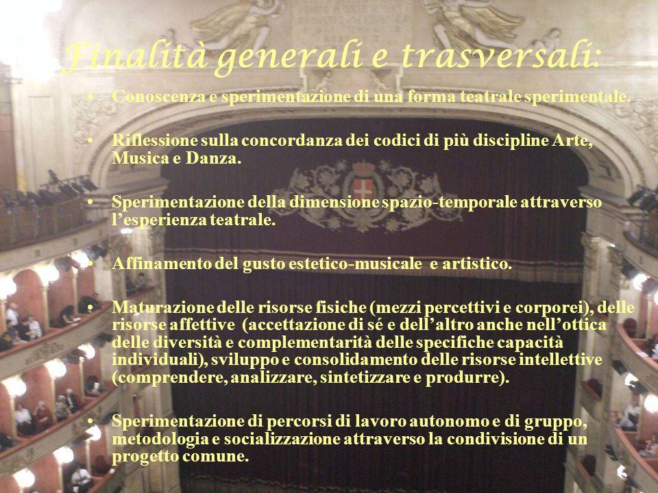 Finalità generali e trasversali: Conoscenza e sperimentazione di una forma teatrale sperimentale. Riflessione sulla concordanza dei codici di più disc