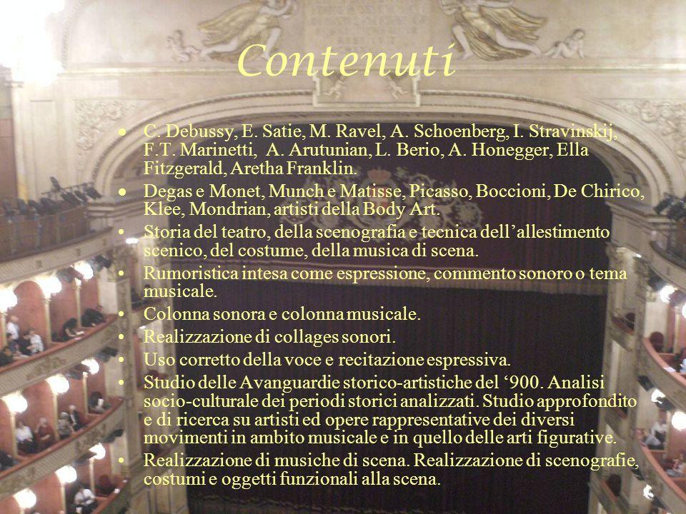 Contenuti C. Debussy, E. Satie, M. Ravel, A. Schoenberg, I. Stravinskij, F.T. Marinetti, A. Arutunian, L. Berio, A. Honegger, Ella Fitzgerald, Aretha