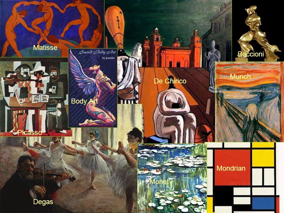 Degas Picasso Monet Mondrian Munch De Chirico Boccioni Matisse Body Art