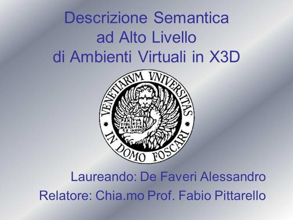 Descrizione Semantica ad Alto Livello di Ambienti Virtuali in X3D Laureando: De Faveri Alessandro Relatore: Chia.mo Prof. Fabio Pittarello