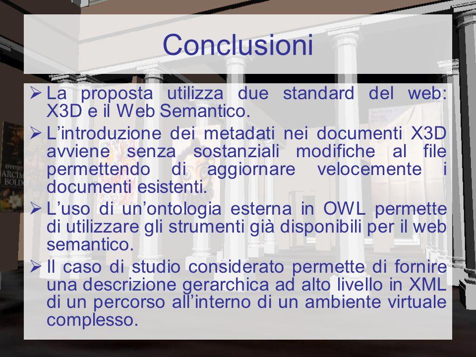 Conclusioni La proposta utilizza due standard del web: X3D e il Web Semantico. Lintroduzione dei metadati nei documenti X3D avviene senza sostanziali