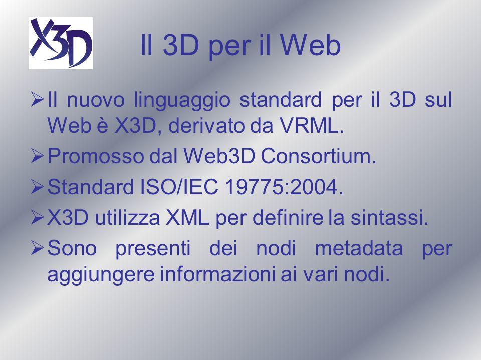 Il 3D per il Web Il nuovo linguaggio standard per il 3D sul Web è X3D, derivato da VRML. Promosso dal Web3D Consortium. Standard ISO/IEC 19775:2004. X