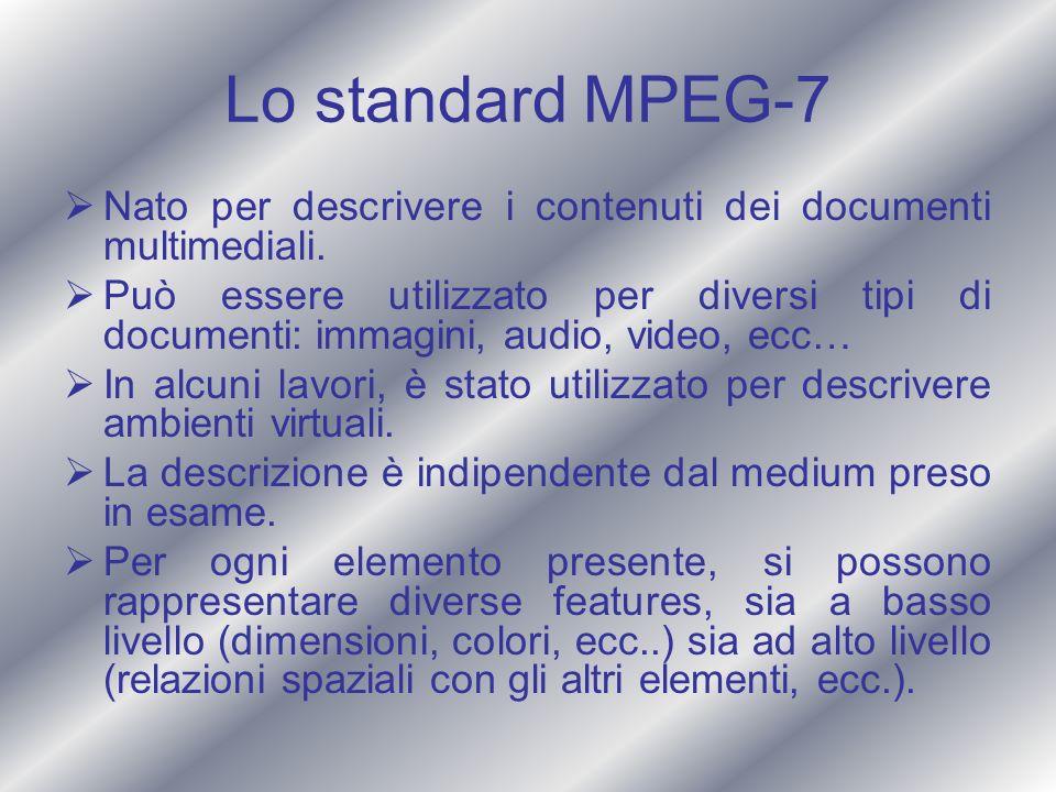 Lo standard MPEG-7 Nato per descrivere i contenuti dei documenti multimediali. Può essere utilizzato per diversi tipi di documenti: immagini, audio, v