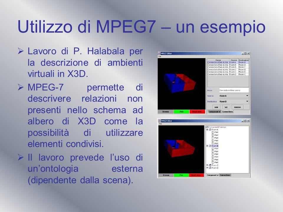 Utilizzo di MPEG7 – un esempio Lavoro di P. Halabala per la descrizione di ambienti virtuali in X3D. MPEG-7 permette di descrivere relazioni non prese