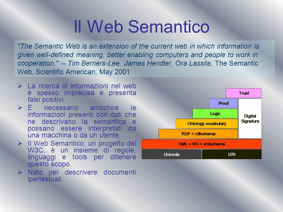 Il Web Semantico La ricerca di informazioni nel web è spesso imprecisa e presenta falsi positivi. È necessario arricchire le informazioni presenti con