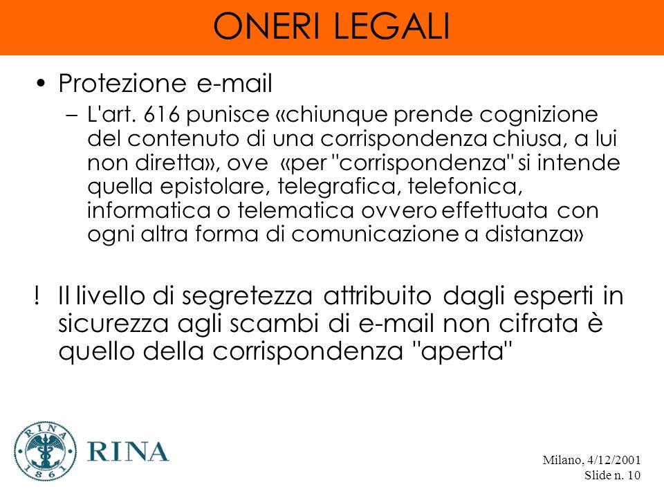 Milano, 4/12/2001 Slide n. 10 ONERI LEGALI Protezione e-mail –L art.