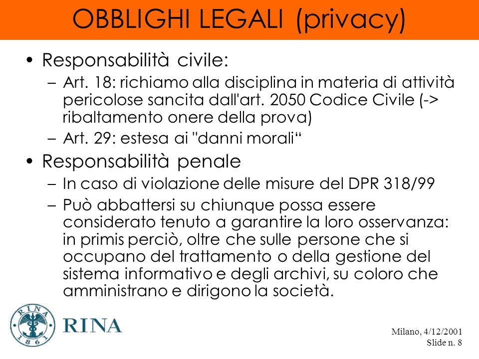 Milano, 4/12/2001 Slide n. 8 OBBLIGHI LEGALI (privacy) Responsabilità civile: –Art.