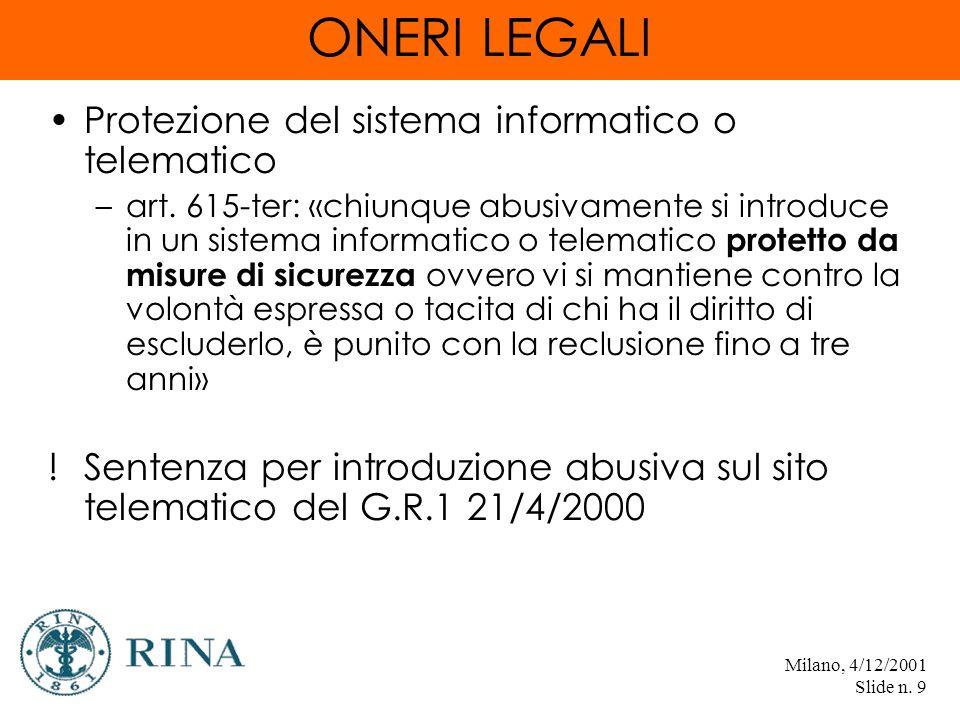 Milano, 4/12/2001 Slide n. 9 ONERI LEGALI Protezione del sistema informatico o telematico –art.
