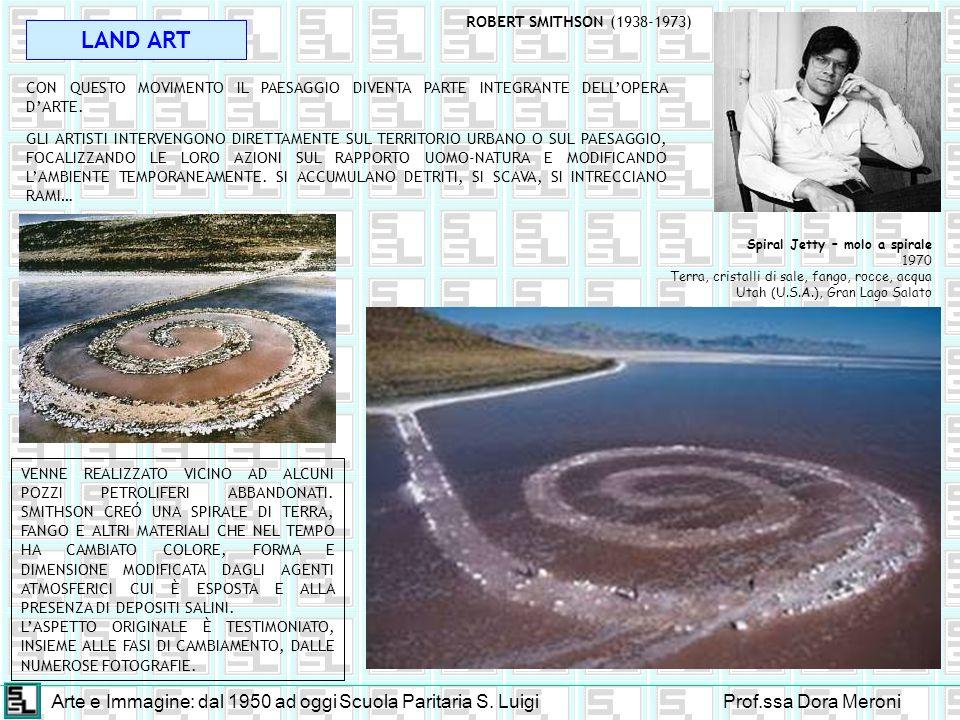 Arte e Immagine: dal 1950 ad oggiScuola Paritaria S. LuigiProf.ssa Dora Meroni LAND ART CON QUESTO MOVIMENTO IL PAESAGGIO DIVENTA PARTE INTEGRANTE DEL
