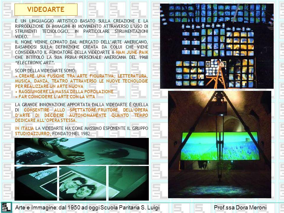 Arte e Immagine: dal 1950 ad oggiScuola Paritaria S. LuigiProf.ssa Dora Meroni VIDEOARTE È UN LINGUAGGIO ARTISTICO BASATO SULLA CREAZIONE E LA RIPRODU