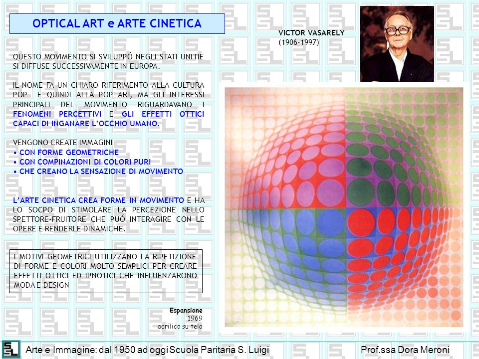 Arte e Immagine: dal 1950 ad oggiScuola Paritaria S. LuigiProf.ssa Dora Meroni OPTICAL ART e ARTE CINETICA QUESTO MOVIMENTO SI SVILUPPÓ NEGLI STATI UN