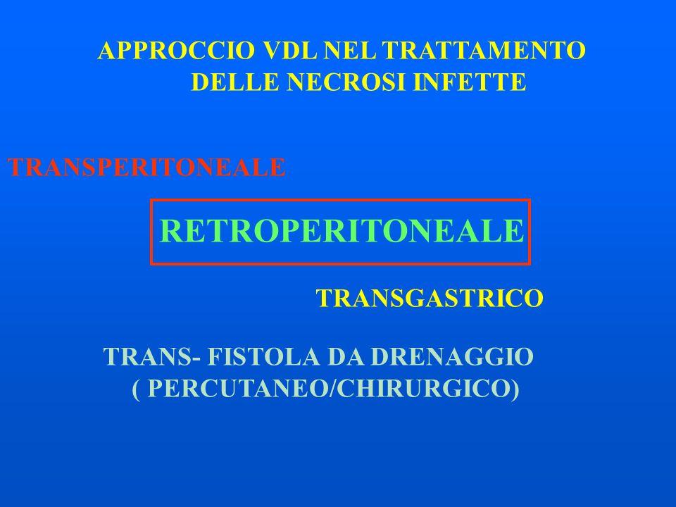 APPROCCIO VDL NEL TRATTAMENTO DELLE NECROSI INFETTE TRANSPERITONEALE RETROPERITONEALE TRANSGASTRICO TRANS- FISTOLA DA DRENAGGIO ( PERCUTANEO/CHIRURGICO)