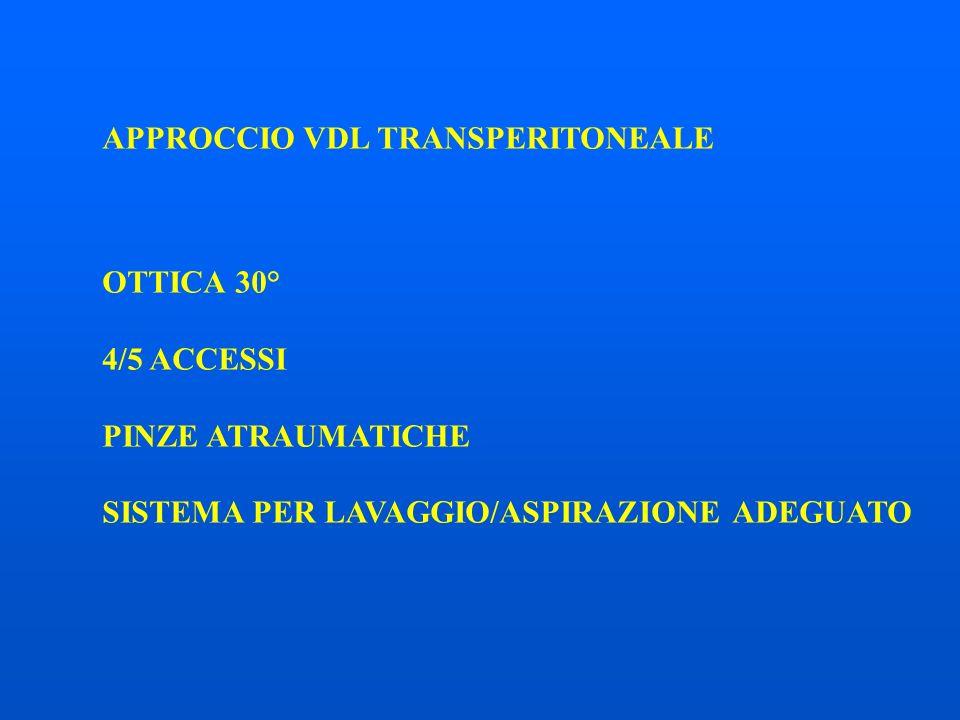 APPROCCIO VDL TRANSPERITONEALE OTTICA 30° 4/5 ACCESSI PINZE ATRAUMATICHE SISTEMA PER LAVAGGIO/ASPIRAZIONE ADEGUATO